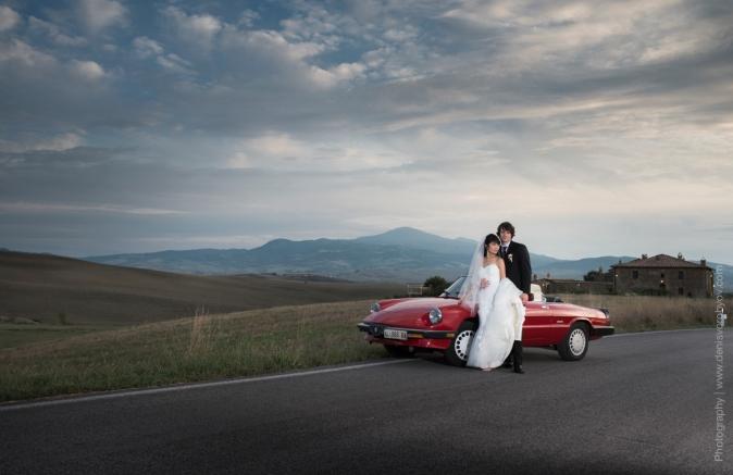 Свадьба в Тоскане. Ретро автомобиль на свадьбу / Wedding in Tuscany. Vintage wedding car