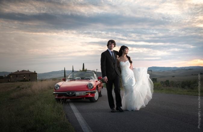 Свадьба в Италии - ретро автомобиль на свадьбу