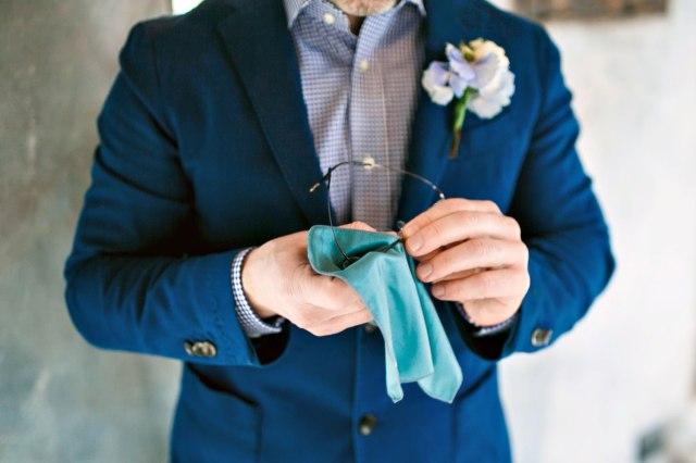 Wedding in Tuscany. Groom's blue attire