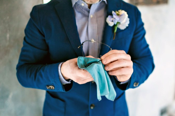 Wedding in Tuscany. Groom's blue attire